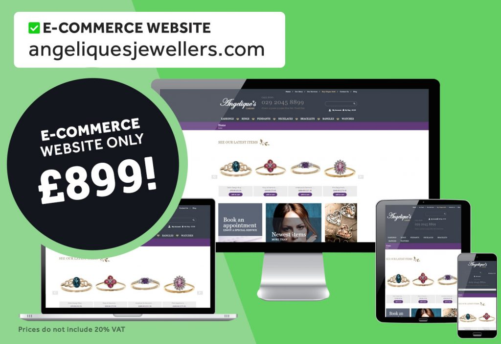 7-page, unlimited products shop website for online jewellers Angelique's Jewellers. Built for only £899!
