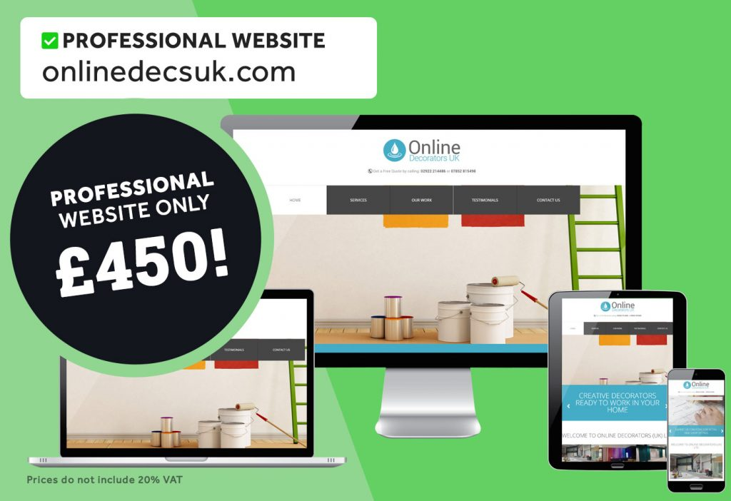 5-page website for online decorating company. Built for only £450!