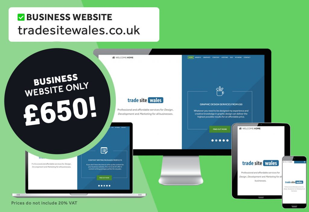 10-page business website for Trade Site Wales. Only £650!